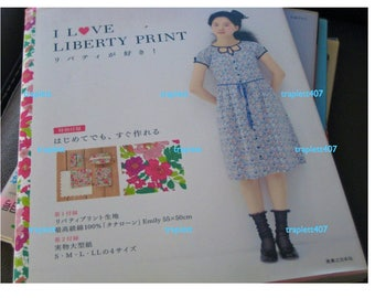 Japanese  Sewing Pattern Book I Love Liberty Fabric Print