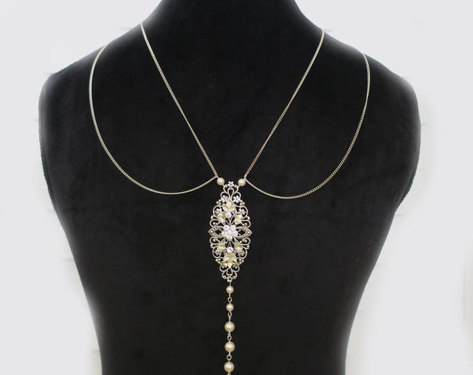 Great Gatsby Inspired Back Necklace Wedding Back Drop Bridal Necklace Art Deco Vintage Style Swarovski Pearl Crystal Silver Body Jewelry