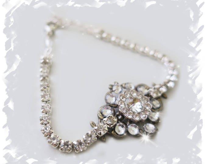 Vintage Art Deco Bridal Crystal Bracelet with CZ flower