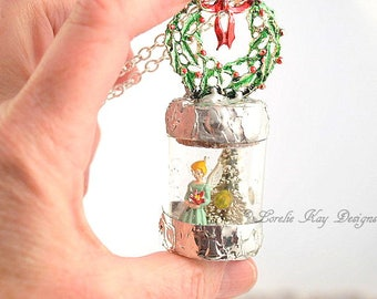 Vintage Angel Necklace Winter Holiday Christmas Necklace Soldered Bottle Mixed Media One-of-a-Kind Diorama Pendant