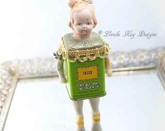 Irish Tea Tin Art Doll Box Miniature Assemblage Art Doll  Functional Art Doll Sculpture Tea Lover Gift Tea Party Decoration