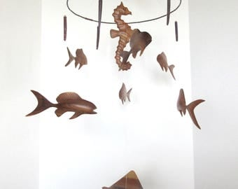 Vintage mid century modern teak fish mobile, hanging mobile, carved wood mobile, nursery decor, seahorse ocean theme mobile, swimming fish