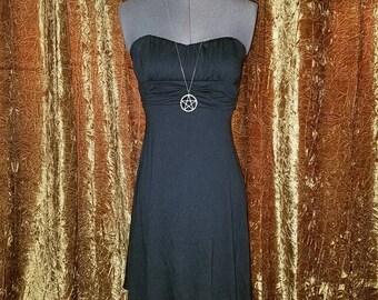 30% OFF Black Cotton Strapless Summer Dress Small, Body Con