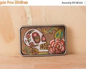 CLEARANCE SALE Sugar Skull No. 1 Belt Buckle - Leather with skull and flowers - red, green, white, antique black