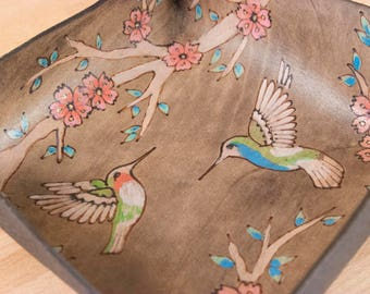Valet Tray - Leather Desk Tray in the May pattern with hummingbirds and cherry blossoms - Third Anniversary Gift