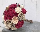 Deep red wood flower bouquet, sola flower wedding bouquet, cranberry bridal bouquet, ecoflowers, champagne sola wood wedding flowers
