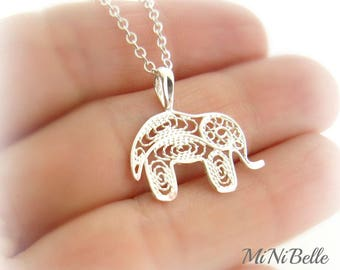Elephant Necklace. Sterling Silver Elephant Necklace. Good Luck Elephant Necklace