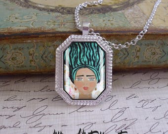 Frida Kahlo, original art, mixed media, art pendants, only 5 pendants made of each design, Frida Kahlo jewelry, octagonal pendants