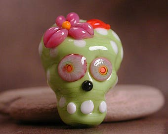 Skull Lampwork Glass Focal Bead Day of the Dead Lime Green and Pink Divine Spark Designs SRA