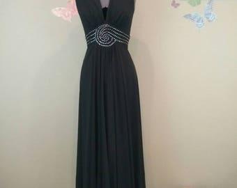 Vintage 70s Mike Benet Formals black rhinestone halter disco maxi dress - studio 54 - evening gown