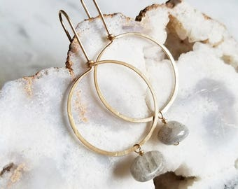 no. 651 - 14kt gold filled and labradorite hoop earrings