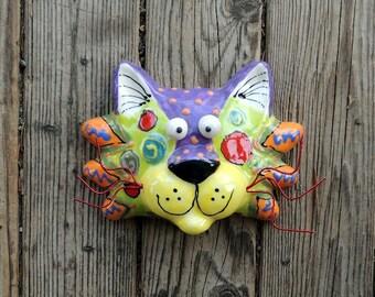 Cats, Cat Face, Small Cat Face, Ceramic Wall Hanging, Ceramic Cat, Cat Mask, Cat Art, Cat Sculpture, Handmade by Dottie Dracos, 616173