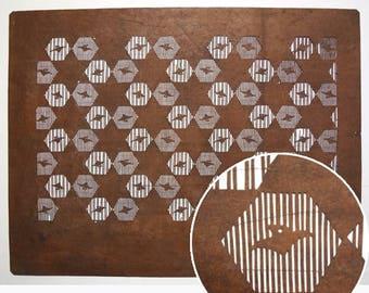 "Vintage Japanese Katagami Stencil Persimmon Paper ""Little Birds"""