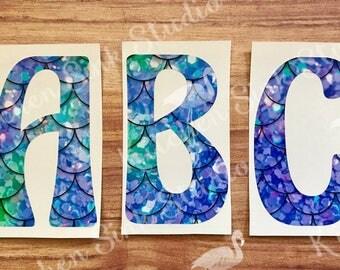 Single Letter Initial Monogram Decal ~ fun font ~ mermaid scales, flamingo letter, beach print, size choice! permanent sticker, tumbler, car