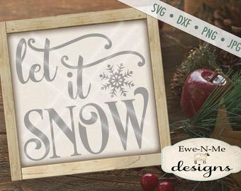 Let It Snow SVG - Winter SVG - snowflake svg - Christmas svg  - glass block svg - Christmas sign svg - Commercial Use svg, dxf, png, jpg