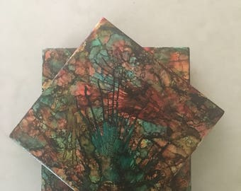 Colorful Alcohol Ink Tile Coasters Set of Four Handpainted Green Burgundy Turquoise  Red