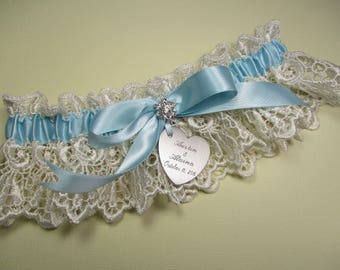 Something Blue Wedding Garter, Personalized Garter in Ivory Lace with Engraving, a Bow and Rhinestones