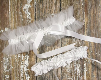 Personalized White Tulle Wedding Garter Set with Engraving