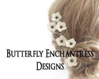 Bridal Hair Flowers, Wedding Hair Accessory, Destination Beach Wedding, Bridesmaid Headpiece Gift - 12 Creamy Ivory Mini Anemone Hair Pins
