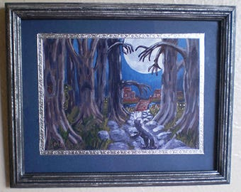 Black cat framed Halloween decoration spooky dark hollow art wall hanging home decor print of original painting creepy trees landscape
