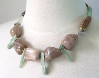 Pink moonstone and green kyanite necklace short statement
