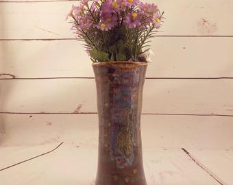 Narrow Ceramic Vase - Iron Luster / Colorful Streaks - Home Décor - Tall Bloom Holder - Centerpiece - Hostess Gift - Ready to Ship  v644