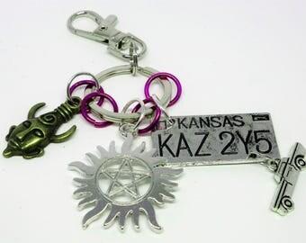 Supernatural Keychain/Bag Clip Anti-Possession Symbol Samulet/Dean's Amulet Impala License Plate