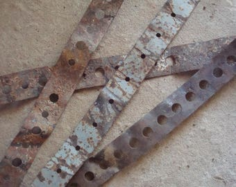 Rusty Flat Metal Pieces with Holes Found Objects for Assemblage, Altered Art or Sculpture - Industrial Salvage