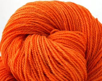 Mohonk Light Hand Dyed fingering weight NYS Wool 550yds 4oz Electric Tangerine