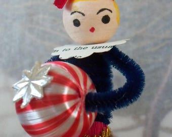 Vintage Style / Pipe Cleaner Patriotic Female Figure / Vintage Craft Supplies / Spun Cotton Head / Satin Ball / Vintage Ice Cream Cap