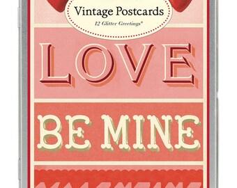 Vintage Style / Cavallini & Co. Vintage Postcards / Valentines / 12 Adorned with Glitter