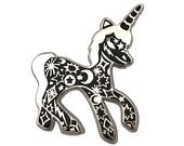 Unicorn Pin        Enamel Tattooed
