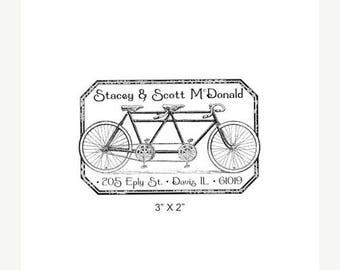 Super Summer Sale Tandem Bicycle Distressed Antique Frame Custom Return Address Rubber Stamp AD221