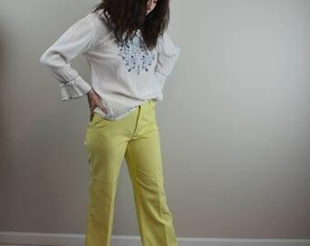 1960's Levi's for Gals Big E Yellow Kick Flare Pants Size M/L