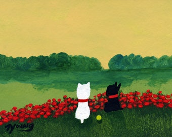Black Scottie Scottish Terrier White Westie West Highland Dog art PRINT of Todd Young FRENCH POPPIES