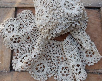 Vintage Hand Crocheted Lace Trim Over 3 feet long