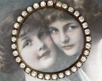 Vintage Bracelet Rhinestone Bezel Set Brass