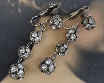 Vintage Rhinestone Ball Bead Earrings