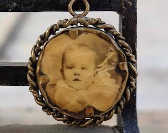 Antique Portrait Photo Charm Vintage Jewelry Double Sided
