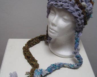 "EARLY FALL SALE light blue green multi-colored crocheted hat with tails, made from upcycled chiffon scraps ""bluebell"""