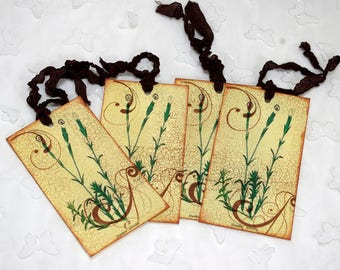 Antiqued Meadow Flower Gift Tags Hand Stamped
