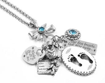Mother's Necklace - Footprint Jewelry - Child's Footprints - Memorial Necklace - Your Babies Footprints