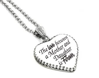 Mother Daughter, Daughter Mother Jewelry, Inspirational Pendant, Heart Pendant, Pendant for Mother and Daughter, Heart Necklace