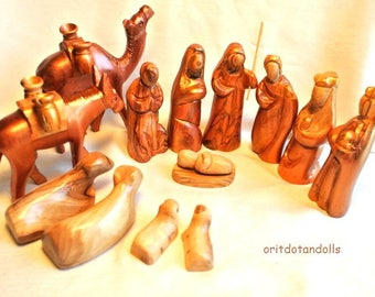 Nativity set, Christmas creche  hand carved hand painted of olive wood in Holy Land