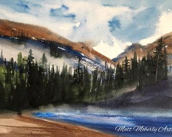 Original Watercolor Summer Scene with hills