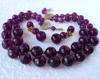 Parure Purple Beaded Necklace Vintage Multi Strand Matching Earrings Chunky Large Faceted Acrylic Crystal Amethyst Halloween Costume Jewelry