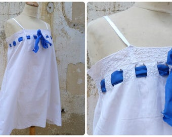 Antique Vintage 1900/1910 Edwardian French white cotton hand embroidered / underdress /dress/ size S