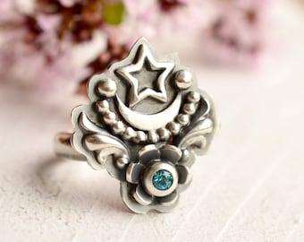 Stargazer Ring, Blue Topaz Ring, Metalsmithed Silver Ring, Silver Moon Ring, Unique Handmade Gemstone Ring, Botanical Silver Ring