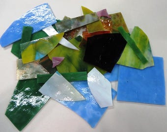 Scrap Glass for Stained Glass and Mosaics 1lb 14 oz.