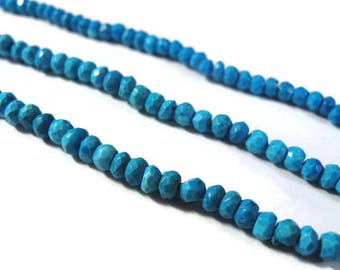 Turquoise Faceted Rondelles, 3mm - 3.5mm, 13 Inch Strand of Blue Gemstone Beads for Making Jewelry (R-Tu1)